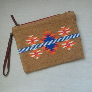 Tribal print clutch wristlet